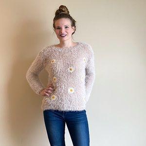 Victoria one size daisy eyelash knit sweater